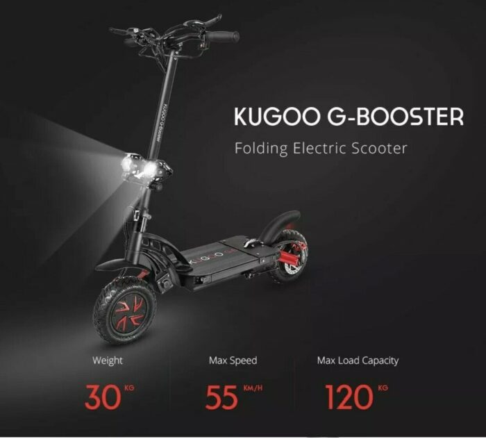 Here is an image of the Kugoo G booster scooter with a black frame and red wheels